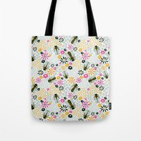 bees Tote Bags featuring Bees by Yellow Button Studio