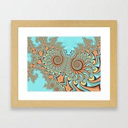 Owl Fractal Turquoise and Orange Framed Art Print