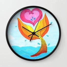 Mermaid at Heart Wall Clock