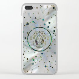Virgo Zodiac Gold Abalone on Constellation Clear iPhone Case