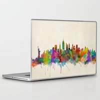 new york city Laptop & iPad Skins featuring New York City Skyline by artPause