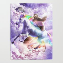 Epic Space Sloth Riding On Unicorn Poster