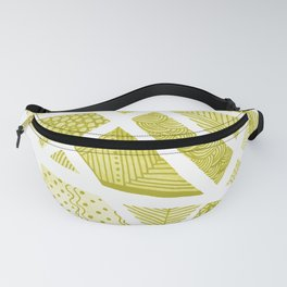 Geometric doodle pattern - yellow and white Fanny Pack