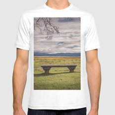 Empty Bench - landscape photography nature grass trees sky blue green love vintage story MEDIUM White Mens Fitted Tee