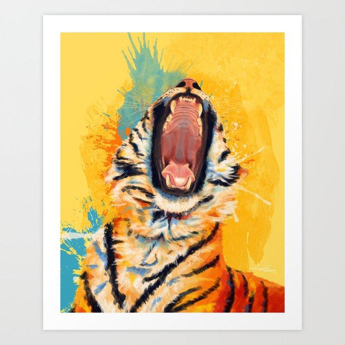 Wild Yawn - Tiger portrait Kunstdrucke