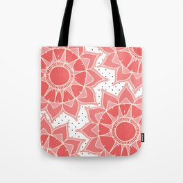 Coral ivory floral mandala black white polka dots Tote Bag