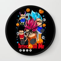 dragonball Wall Clocks featuring Rise of Mini Dragonball by cungtudaeast