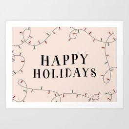 Happy Holidays Christmas Design with Christmas Lights Art Print