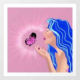 Discovering Me-Light Pink/Blue Art Print