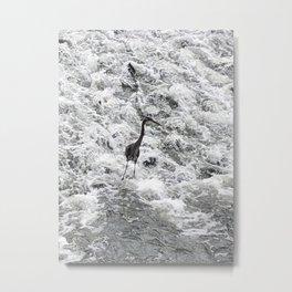 Heron Standing in Rushing White Water Metal Print