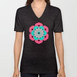 Lotus Flower Mandala, Coral Pink and Turquoise Unisex V-Neck
