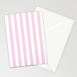 Pastel pink white modern geometric stripes Stationery Cards