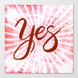 Yes, Red Grunge Rays Word Art Canvas Print