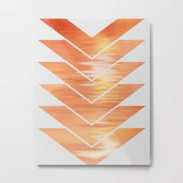 NL 2 Coral Sunset Chevron on Gray Metal Print
