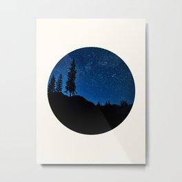 Mid Century Modern Round Circle Photo Blue Star Night Sky Pine Tree Silhouette Metal Print