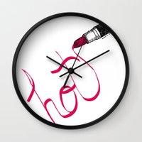 lipstick Wall Clocks featuring Lipstick by Addison Karl