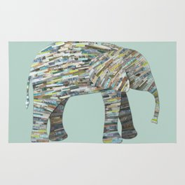 Elephant Paper Collage in Gray, Aqua and Seafoam Rug