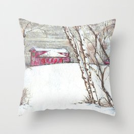 Birch Trees & A Barn. Throw Pillow