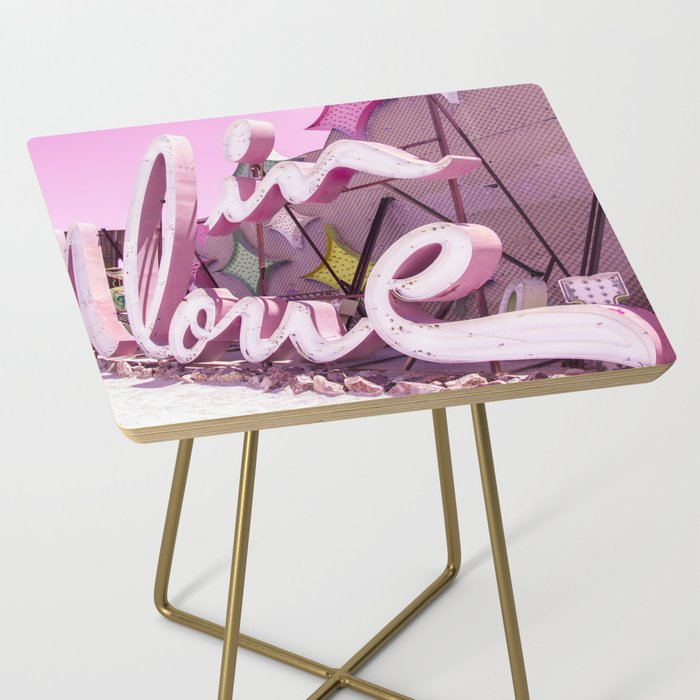 """Pink """"In Love"""" Sign at the Neon Museum in Las Vegas, Nevada Side Table"""