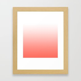 Living Coral Ombre - Coral and White Framed Art Print