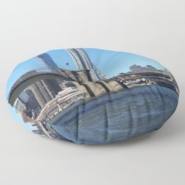 Brooklyn Bridge with Manhattan Skyline and One World Tower Floor Pillow