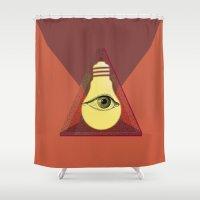 "illuminati Shower Curtains featuring ""Illuminati"" bulb by Oh! My darlink"