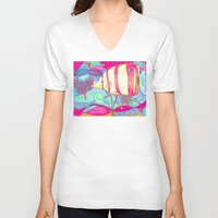 angel V-neck T-shirts featuring Angel by Juliana Kroscen