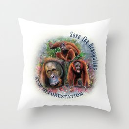 Save the Orangutans Watercolor Illustration Throw Pillow