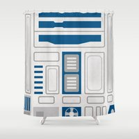 r2d2 Shower Curtains featuring R2D2 by Alison Lee