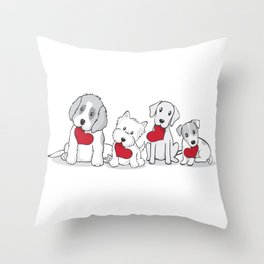 Valentine's Day Dogs Throw Pillow
