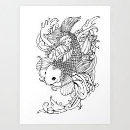 Koi, Poppy, and Squash Blossom Art Print