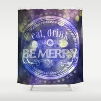 lettering Shower Curtains featuring Lettering II by Merwizaur