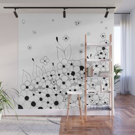 Flowers on the Floor Ink Art Wall Mural
