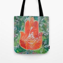 Hamsa Hand in Oranges Tote Bag