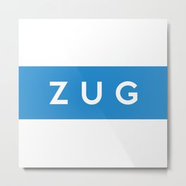 Zug region switzerland country flag name text swiss Metal Print