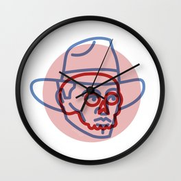 Cowboy Skull - Tattoo Style - Southwest Inspired Pop Art by CJ Hughes Wall Clock