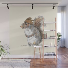 Squirrel with an Acorn Hat Wall Mural