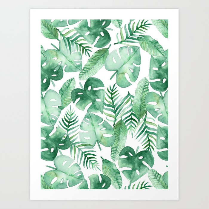 Tropical Jungle on White Art Print