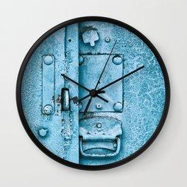 Old metal hasp on locked door Wall Clock