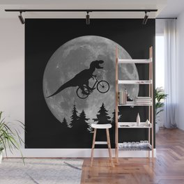 Biker t rex In Sky With Moon 80s Parody Wall Mural