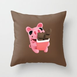 Rosa share chocolate brown Throw Pillow