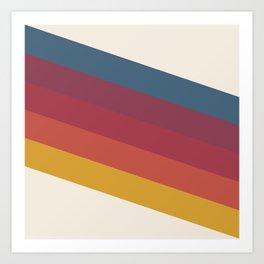 Manat - Colorful Classic Abstract Minimal Retro 70s Style Stripes Design Art Print
