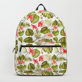Tropical blush pink green modern vector floral pattern Backpack