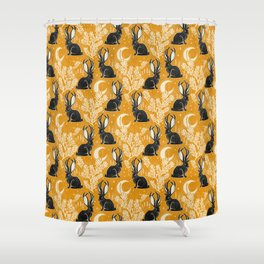 Jackalope - marigold and black  Shower Curtain