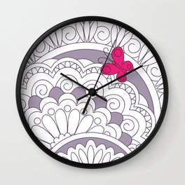two pink butterfies on the mandalas Wall Clock