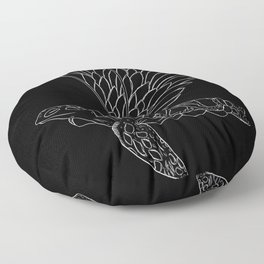 flying turtle black and white Floor Pillow