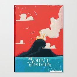 Mount Vesuvius vintage travel Art Canvas Print