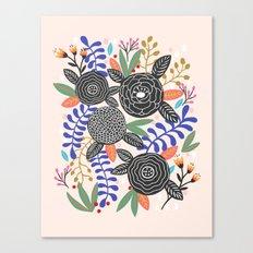 Black Botanical Canvas Print