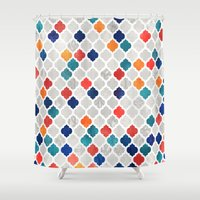 spice Shower Curtains featuring Sea & Spice Moroccan Pattern by micklyn