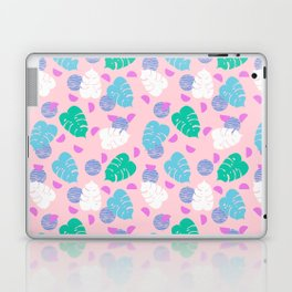Monstera leaf house plant abstract modern print neon pink pastel summer vacation palm springs Laptop & iPad Skin